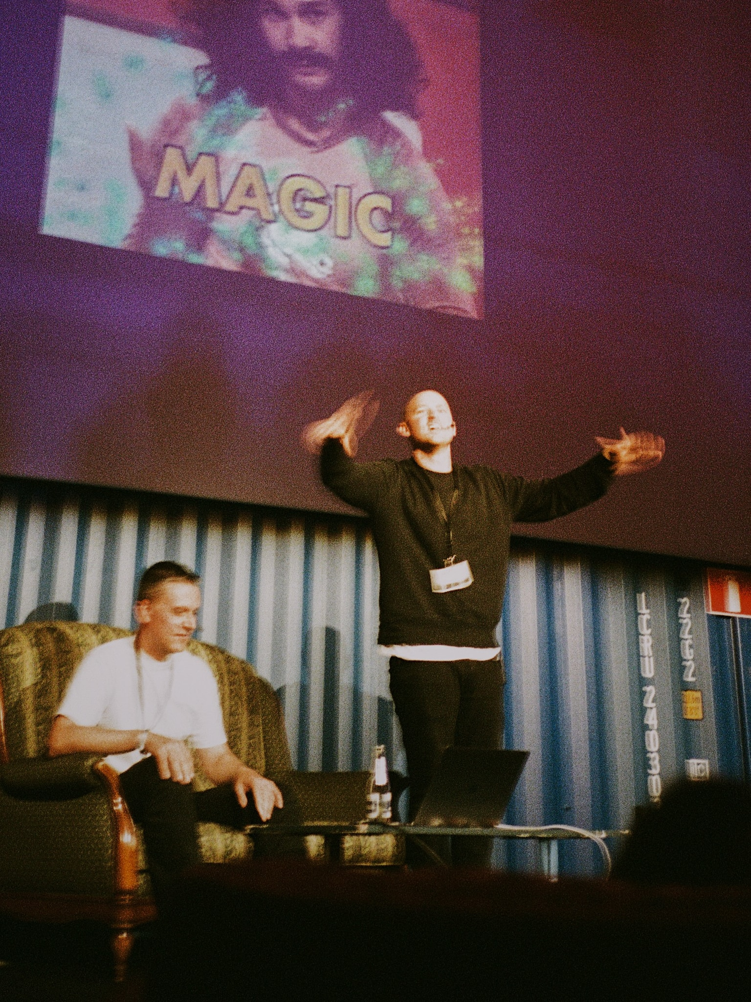 Adam, Stefan doing magic live on stage